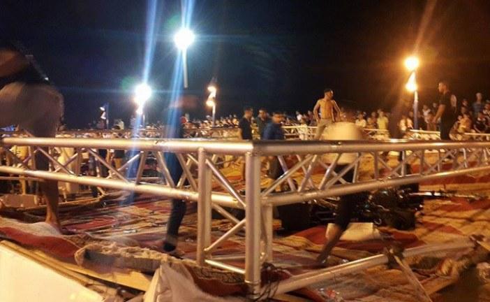 فضيحة بمهرجان الفنيدق الرمضاني بعد سقوط المنصة الشرفية