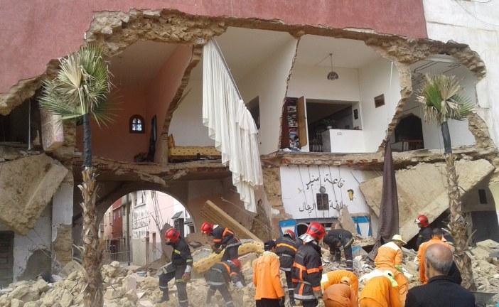 نجاة مواطنين من موت محقق بعد انهيار عمارة كانت آيلة للسقوط بمدينة القنيطرة+صور.