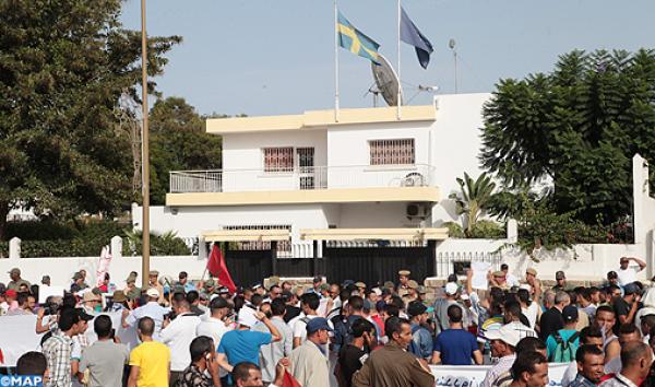 """ألاف المواطنين يحتجون أمام سفارة السويد بالرباط ضد موقفها المؤيد ل""""البوليساريو"""""""