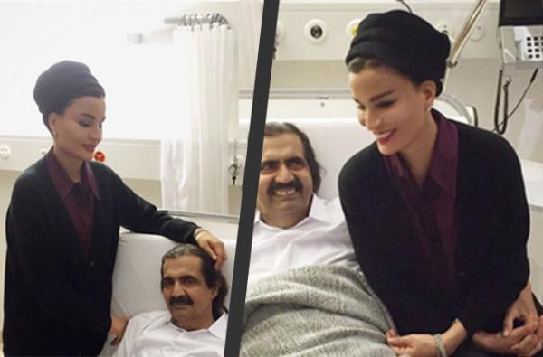 الشيخة موزة تنشر صورة الأمير حمد بمستشفى سويسري بعد تعرضه لكسر في المغرب