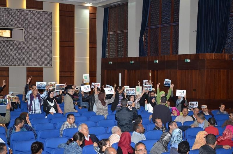 الأساتذة المتدربون يحتجون داخل ندوة للعدالة والتنمية بأكادير