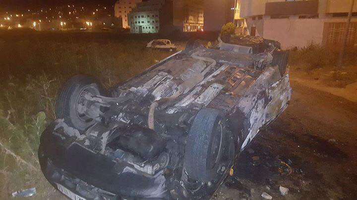 أعمال شغب وحرق وتخريب سيارات المواطنين بمحيط ملعب طنجة