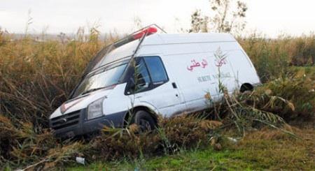 إصابة 5 أشخاص ضمنهم شرطيان في حادث انقلاب سيارة أمن قرب بني ملال