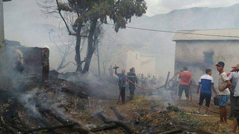 حريق مهول يلتهم نصف عدد مساكن دوار بتاونات ويخلف خسائر مادية جسيمة