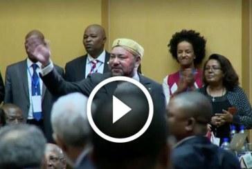 استقبال حار للملك محمد السادس داخل مقر الاتحاد الافريقي