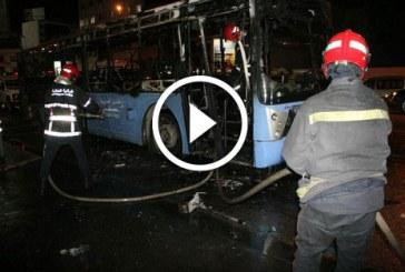 احتراق حافلة للنقل الحضري مساء اليوم (الأحد) بشارع أنفا في الدار البيضاء