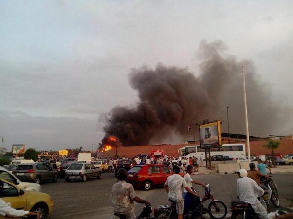 حريق مهول بأحد الفنادق قرب جامع الفنا بمراكش