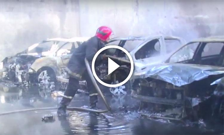 صورة بالفيديو: اندلاع حريق مهول بورش لصيانة السيارات بالدارالبيضاء