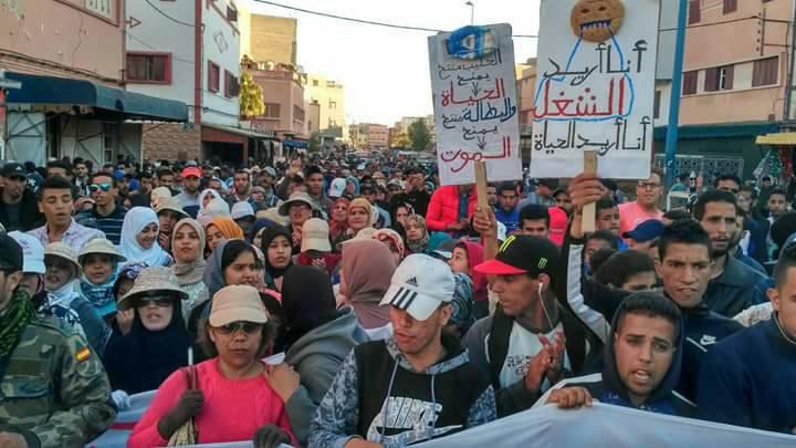 صورة مسيرة حاشدة بآسفي للمطالبة بالشغل والعمدة يرفض الإفراج عن 300 منصب عمل