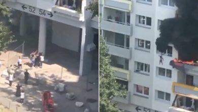 صورة بالفيديو.. لحظة قفز طفلين من شرفة شقتهما المحترقة بالطابق الثالث والتقاطهما من طرف الأهالي