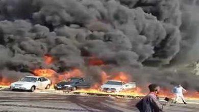 صورة بالفيديو.. حريق هائل بعد انفجار خط بترول في مصر